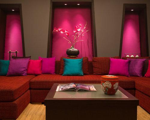 asiatische wohnzimmer mit rosa wandfarbe ideen design. Black Bedroom Furniture Sets. Home Design Ideas