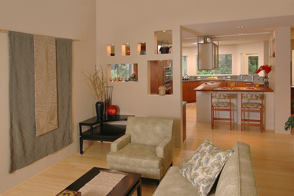 Asian Living Room by Archipelago Hawaii Luxury Home Designs