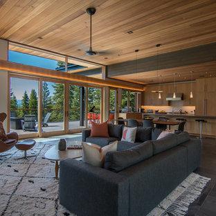サクラメントの中サイズのミッドセンチュリースタイルのおしゃれなLDK (白い壁、スレートの床、テレビなし、オレンジの床) の写真