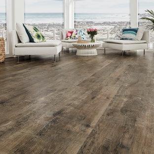 Foto di un soggiorno moderno con pavimento in vinile