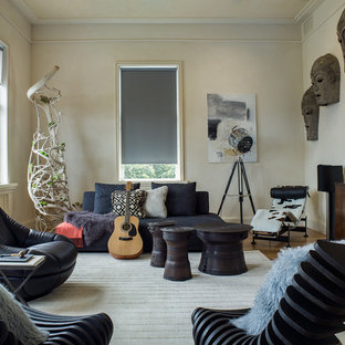 Living room - eclectic living room idea in San Francisco with beige walls