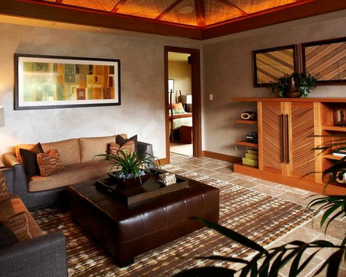 Nice Inspiration For A Tropical Living Room Remodel In Hawaii With Gray Walls Part 16