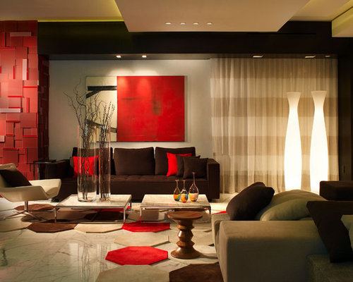 Red and brown living room design ideas remodels photos for Red and brown living room ideas