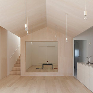 Design ideas for a small scandinavian open concept living room in Other with beige walls, plywood floors, a wall-mounted tv and beige floor.
