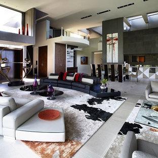 Huge minimalist open concept porcelain floor living room photo in Philadelphia