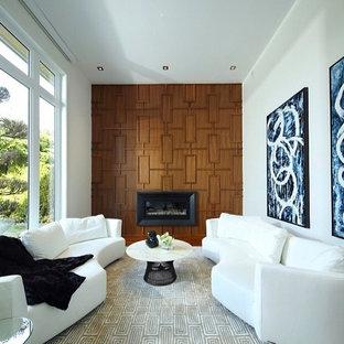 Foto di un soggiorno boho chic di medie dimensioni con moquette, camino classico e cornice del camino in metallo