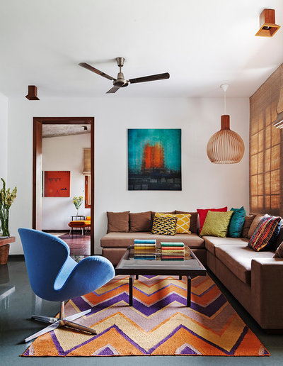 Eclectic Family Room by Shamanth Patil Photography