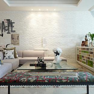 Foto de salón para visitas bohemio con paredes blancas