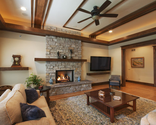 Inspiration For A Timeless Living Room Remodel In Chicago With A Stone  Fireplace Surround