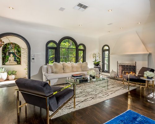 Tuscan enclosed dark wood floor and brown living room photo in Los  Angeles with white Best 30 Mediterranean Living Room Ideas Designs Houzz
