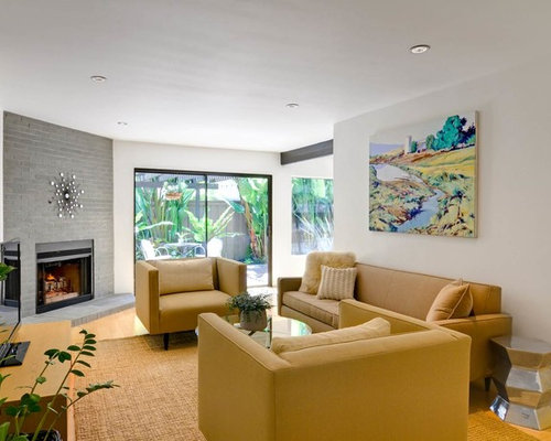 Example Of A Trendy Living Room Design In San Go With White Walls And Corner