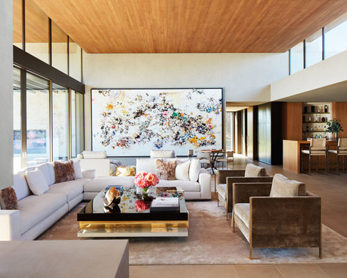 Inspiration For A Large Modern Open Concept Living Room In Other With Home Bar