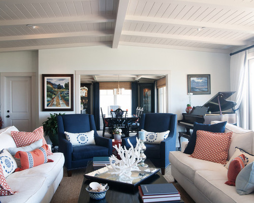 Tan And Navy Beach Living Room Part 75