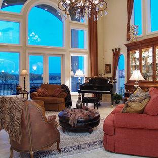 Foto di un soggiorno chic con sala della musica