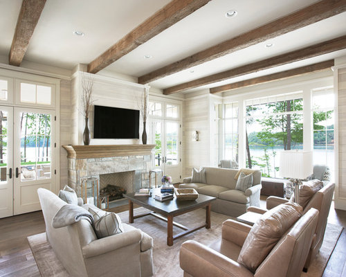 Elegant Inspiration For A Timeless Formal Open Concept Living Room Remodel In Other  With Beige Walls,