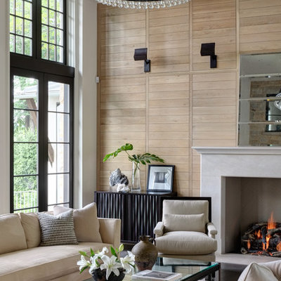 Inspiration for a timeless living room remodel in Milwaukee with white walls and a standard fireplace