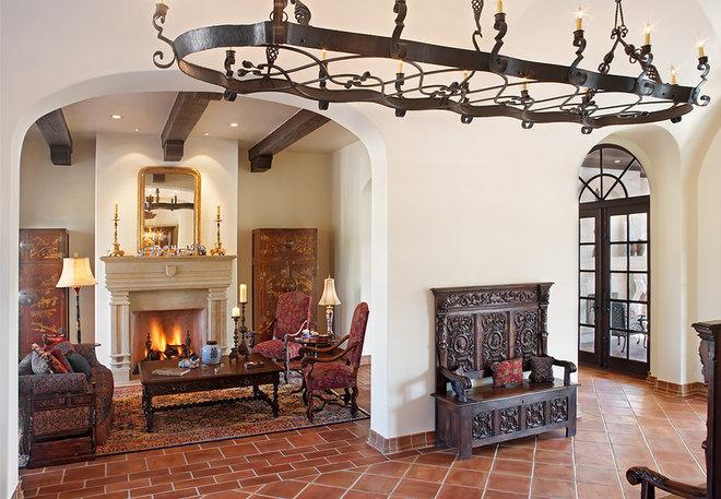 Mediterranean Living Room by Cornerstone Architects