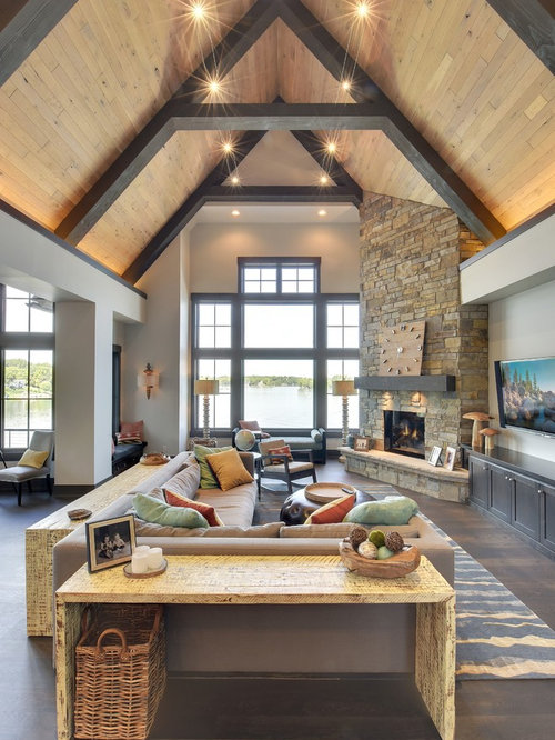 50 Best Craftsman Living Room with a Corner Fireplace Pictures ...