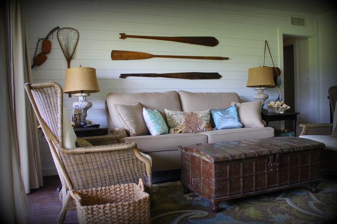 Tropical Living Room by Hopkins Designs
