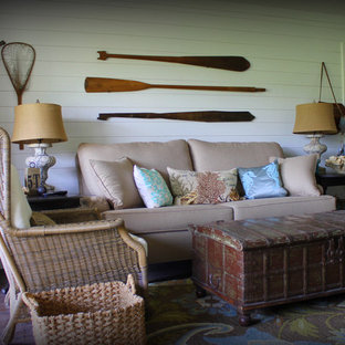 Example of an island style living room design in Dallas