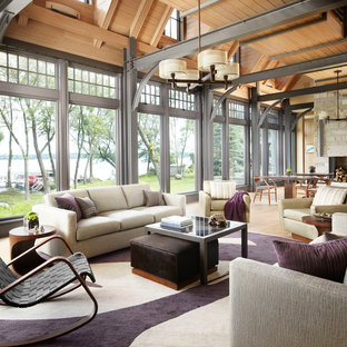 Inspiration for a contemporary open concept light wood floor living room remodel in Chicago