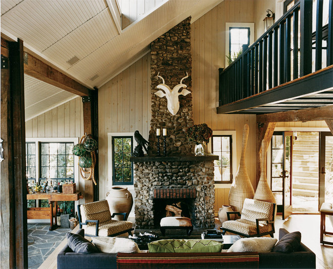 Rustic Living Room by Thom Filicia Inc.