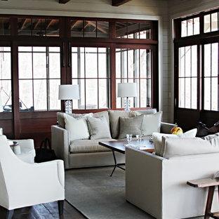Living room - beach style dark wood floor living room idea in Atlanta
