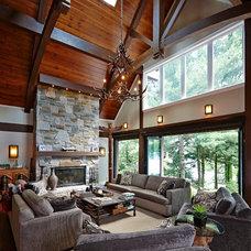 Rustic Living Room by Muskoka Lakes Construction