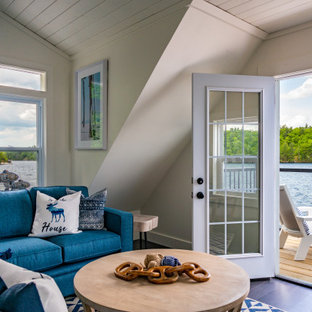Inspiration for a coastal painted wood floor, blue floor, shiplap ceiling and vaulted ceiling living room remodel in Toronto with gray walls, no fireplace and no tv
