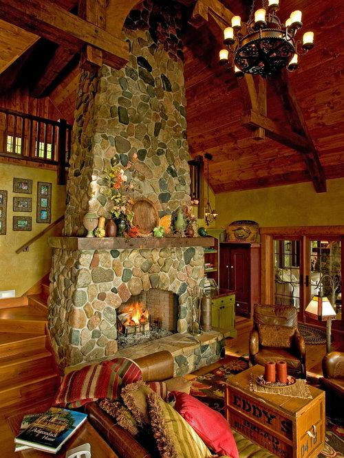 Fieldstone Fireplace | Houzz