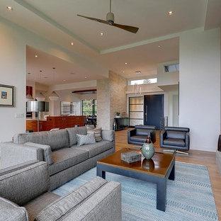Esempio di un grande soggiorno minimal aperto con sala formale, pareti grigie, pavimento in legno massello medio, camino lineare Ribbon, cornice del camino in intonaco, nessuna TV e pavimento arancione