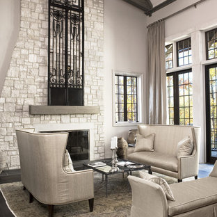 Living room - large transitional open concept and formal dark wood floor living room idea in Other with a stone fireplace, gray walls and a standard fireplace