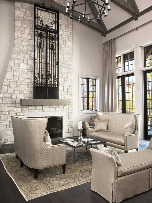 Large Transitional Formal Open Concept Living Room Idea In Other With A Stone Fireplace Surround