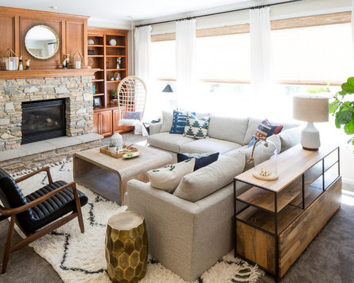 Beach Style Carpeted Living Room Idea In Seattle With A Standard Fireplace And Beige Walls