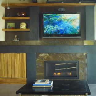 Foto di un piccolo soggiorno minimalista aperto con pareti beige, pavimento in cemento, camino classico, cornice del camino in pietra, parete attrezzata e pavimento beige