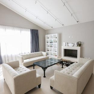 Esempio di un grande soggiorno minimalista aperto con sala formale, pareti grigie, pavimento in marmo, camino classico e cornice del camino in pietra
