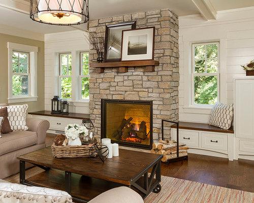 Mid Sized Elegant Open Concept Medium Tone Wood Floor Living Room Photo In  Minneapolis With