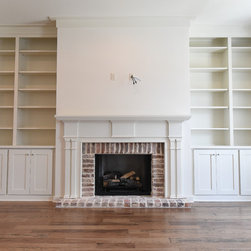 Living Room- Engineered hickory floors, built in cabinets and shelving ...