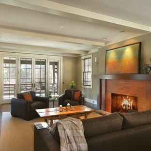Example of a trendy living room design in Other with a tile fireplace