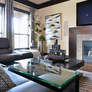 Large trendy open concept dark wood floor living room photo in Dallas with beige walls, a ribbon fireplace, a tile fireplace and a wall-mounted tv
