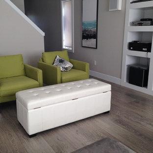 Esempio di un soggiorno moderno di medie dimensioni e chiuso con pareti grigie, pavimento in laminato e parete attrezzata
