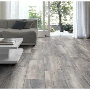 Esempio di un soggiorno minimalista di medie dimensioni e aperto con sala formale, pareti grigie, pavimento in gres porcellanato, TV a parete e pavimento grigio