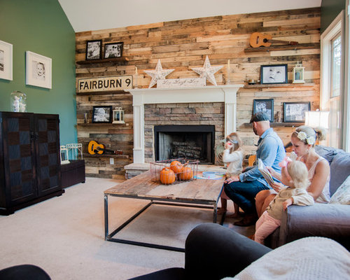 Eclectic Living Room Idea In Atlanta With A Stone Fireplace Surround
