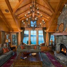 Rustic Living Room by ZIrbel Architect`