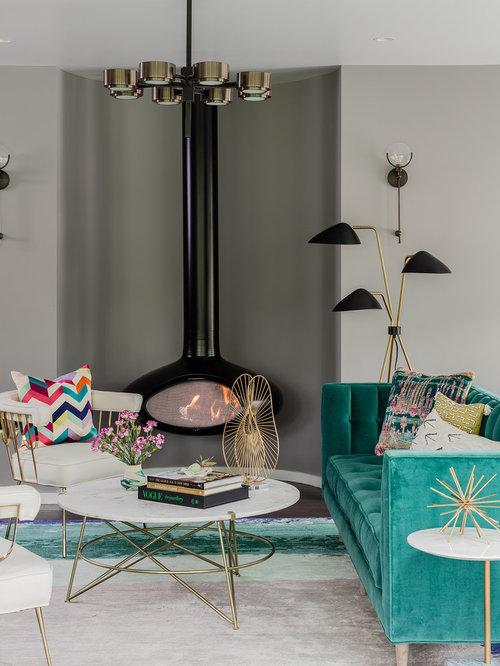 eklektische wohnzimmer mit h ngekamin ideen design bilder beispiele. Black Bedroom Furniture Sets. Home Design Ideas