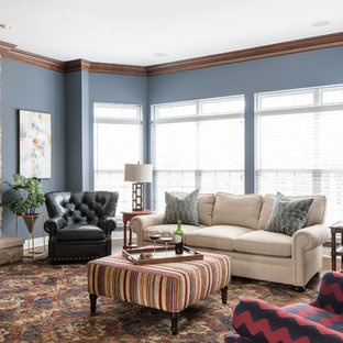 Mid-sized transitional enclosed dark wood floor living room photo in St Louis with blue walls, a stone fireplace and a ribbon fireplace