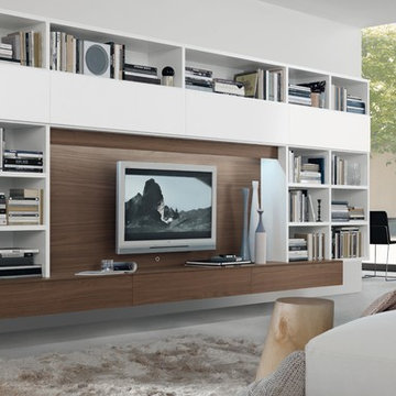 Large modern white living room with white bookcase entertainment center