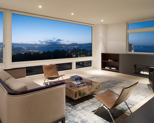 Example Of A Minimalist Living Room Design In San Francisco With Ribbon Fireplace