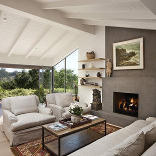 Esempio di un soggiorno minimal di medie dimensioni e aperto con camino classico, nessuna TV, cornice del camino in intonaco, pareti bianche e parquet chiaro