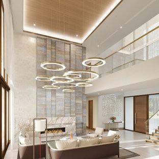 Esempio di un ampio soggiorno design aperto con pavimento in gres porcellanato, camino lineare Ribbon, cornice del camino in pietra e pavimento beige